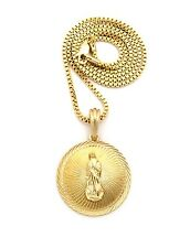 "NEW VIRGIN MARY ROUND PENDANT &2mm/24"" BOX CHAIN NECKLACE - XSP457BX"