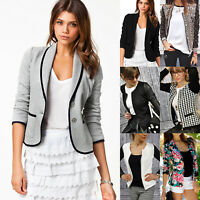 Womens Ladies Long Sleeve Blazer Suit Thin Short Jacket Casual Work Career Tops