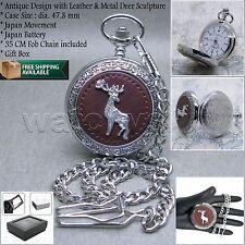 SILVER Antique Mens Leather DEER Quartz Pocket Watch Gift Fob Chain Box P125