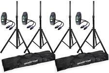 4 x AH Boxenstative + 4x 10m Boxenkabel 2x2,5mm² + 2x Lautsprecherstativ-Tasche