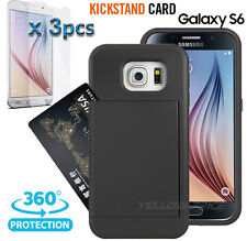 Samsung Galaxy S6 Stand Case, Two ID Card Holder Slot Wallet Cover Screen Guards
