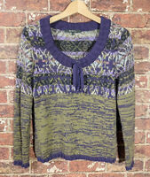 SOL sz S Baby Alpaca Wool Sweater Purple Green Scoop Neck Long Sleeve
