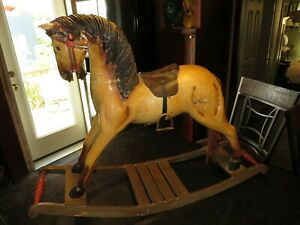 Vintage Antique Hand Carved Wooden Rocking Horse For Repair