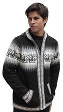 Mens Alpaca Wool Knitted Jacket Hooded Sweater Little Llamas Peru Size L Black
