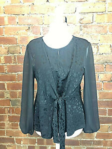 Oasis Black Tie Detail Blouse Sheer Sleeves - Size L (14-16) Evening Occasion