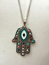 NEW Colourful Fatima Hand Necklace Charm Pendant From Turkey Rainbow Costume