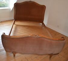 Vintage French Double Bed Louis XV Style Upholstered Corbeille