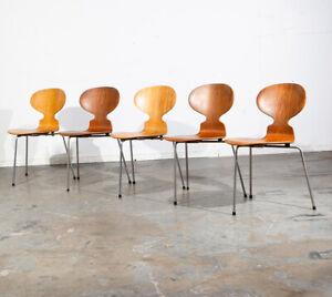 Mid Century Modern Chair Set 5 Tripod Ant Dining Arne Jacobsen Fritz Hansen 3100