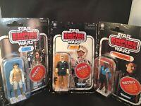 Star Wars Leia (Hoth), Lando Calrissian & Han Solo  (Hoth) Retro Collection NIP
