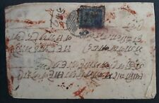 RARE c.1881 Nepal Cover ties 1A Blue stamp with initial grid cancel