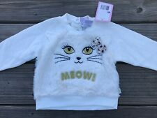 Duck Duck Goose Kids Girl Long Sleeve Shirt Meow Off White Sweater Size 24 Month