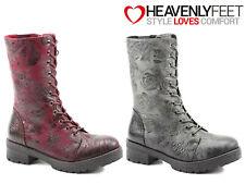 Ladies Mid Calf Boots Heavenly Feet Roses Stylish Winter Memory Foam Biker Shoes