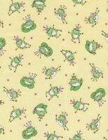 Timeless Treasures KIDZ C3688 Yellow Frogs 100% cotton Fabric by the yard