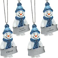 Blue Snowman Xmas Ornament Personalised Male Sentiment Christmas Tree Decoration