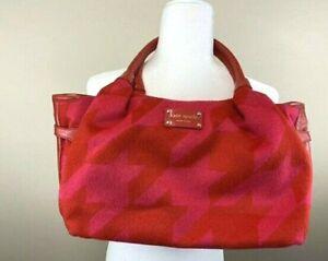 Kate Spade Red Pink Houndstooth Hearthstone Stevie Purse Shoulder Bag Patent Trm