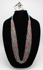 New Turquoise & Coral Seed Bead Necklace by Anthropologie nwt #ANT5
