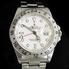 Mens Rolex Stainless Steel Explorer II Date Watch 40mm Oyster w/White Dial 16570