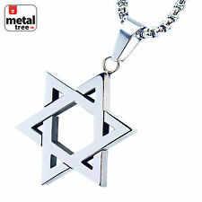 "Mens Stainless Steel Six Point Star Pendant 24"" 3mm Box Necklace SCP 132 S"