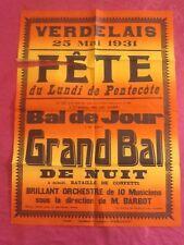 Affiche FETE de Pentecôte à VERDELAIS ( Gironde ) - 1931 -