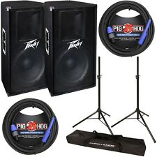"""Peavey PV115 Pair Pro Audio 15"""" 2-Way Passive 400W Speaker w/ Stands & Cables"""