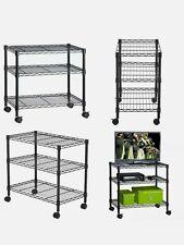 3 Shelf Portable Multimedia Cart Black