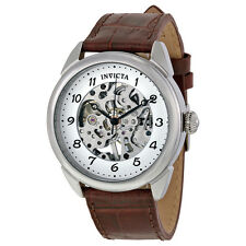Invicta Specialty Silver Skeleton Dial Brown Leather Mens Watch 17187