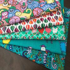 Childrens Prints 100% Cotton Fabric Fat Quarter Bundles 4 Craft,Quilts,Patchwork