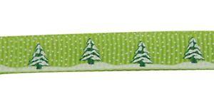 Grosgrain Christmas Tree and Snow Ribbon , Light Green , app. 10mm x 5yrds