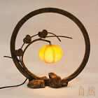 Oriental Paper Round Yellow Globe Lantern Shade Table Art Nouveau Bedside Lamp