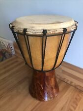 More details for african djembe drum possibly vintage ? skin / wood  30cm tall 20cm dia in vgc