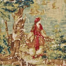 BOSPORUS ANTIQUE RED-WINDOW PANEL / ANY LENGTH AVAILABLE / DESIGNER LINEN FABRIC