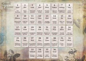 Lenormand Infotafel mit Deutungen der Einzelkarten und Häuser - DIN A4