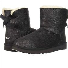 UGGS BAILEY BOW MINI WOMEN'S SIZE 6 SPARKLE BLACK NEW AND AUTHENTIC