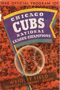 HANK WYSE SIGNED 1946 Chicago Cubs Baseball Program / Joe DiMaggio scored **READ