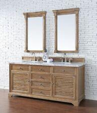 "72"" James Martin Savannah Driftwood Double Bathroom Vanity White Carrera Marble"