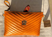 Pratesi Firenze Quilted Leather Handbag Italy Crossbody & Wristlet Cognac NWT