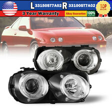 For 94-97 Acura Integra Projector Headlights Front Halo Lamp Chrome/Clear Pair (Fits: Acura Integra)