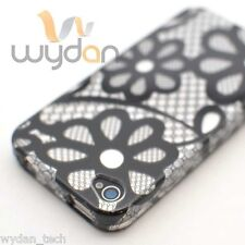 New Silver Black Flower iPhone 4G 4S Snap On Case Cover w/ Screen Protector
