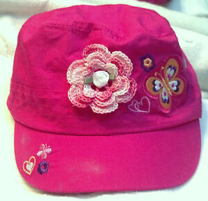 NEW HOT PINK CAP HAT w/ ROSE 18 24 MONTHS 3 3T 4 4T YEARS GIRLS INFANT TODDLER