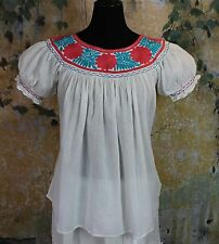 Coral & Turquoise Hand Embroidery Blouse Maya Chiapas Mexico Hippie Cowgirl Boho