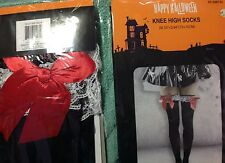 Sexy Nylon BLack white lace red bow Knee high Socks Halloween Costume Hosiery