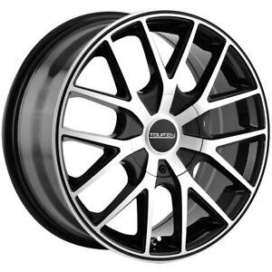 "4-Touren TR60 17x7.5 5x100/5x4.5"" +42mm Black/Machined Wheels Rims 17"" Inch"