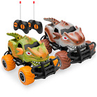 Set of 2 1/43 Scale 27MHz Toy Dinosaur RC Cars w/ 2 Controllers, 9mph Max Speed
