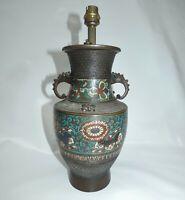 Vase en Bronze Cloisonné Monté en Lampe Chine ou Japon XIXème siècle