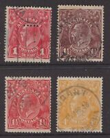 Tasmania T perfin selection on 4 x KGV including nice 4d yellow/orange