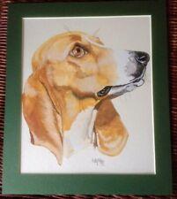~ Beagle ~ Original Watercolour/Gouache Painting by K Hales 1985