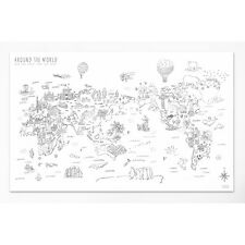 Around The World Drawing World Map Paper Travel Routes Decoration Wall Poster