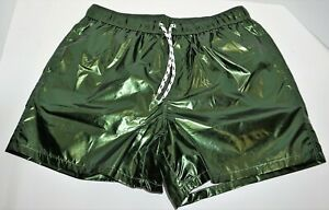 MEN'S HOLOGRAM GREEN SWIM SHORTS ADULT SMALL