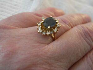 Bague marquise saphir et diamants en or 18 carats  taille 53/54