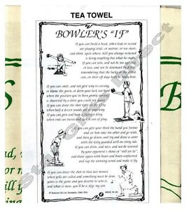 TEA TOWEL BOWLER'S 'IF' New Birthday Gift Bowling *SENT BY RM 1ST CLASS POST*
